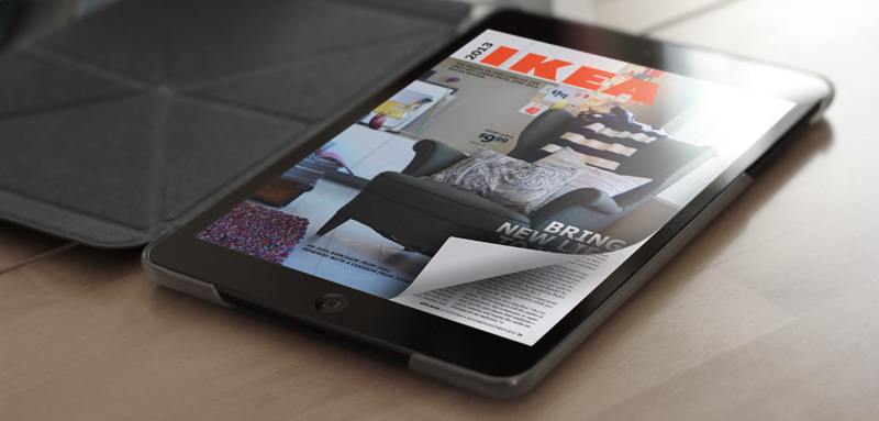 reading magazine on ipad